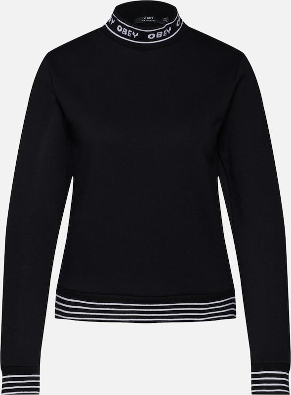 'quincy Obey Sweat NoirBlanc Mockneck' En shirt IY7fyvbg6