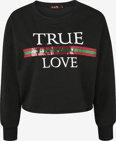 miss goodlife Sweatshirt in grün / rot / schwarz / weiß, Produktansicht