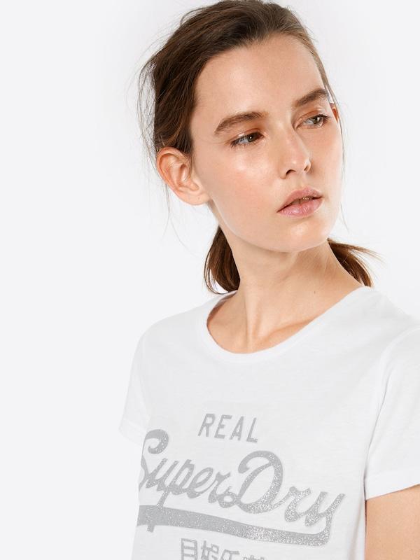 Superdry T-Shirt 'VLOGO EMBOSS GLITTER ENTRY'
