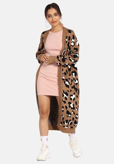 MYMO Manteau en tricot en noisette / noir / blanc, Vue avec modèle