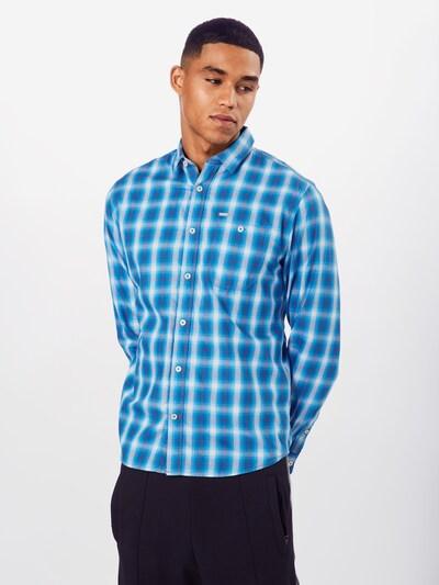 TOM TAILOR Hemd 'ray shadow check shirt' in blau / weiß: Frontalansicht