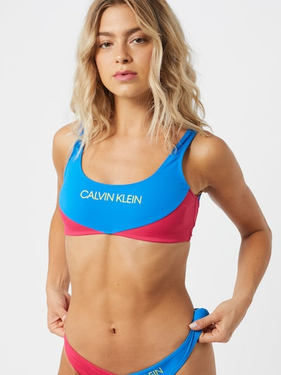 Calvin Klein Swimwear Bikinitop in de kleur Royal blue/koningsblauw / Geel / Magenta, Modelweergave