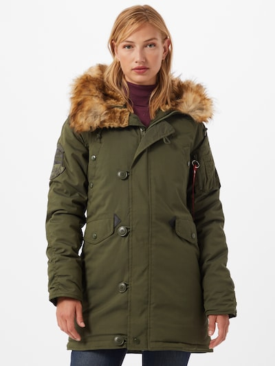 ALPHA INDUSTRIES Płaszcz przejściowy 'Explorer' w kolorze beżowy / ciemnozielonym: Widok z przodu