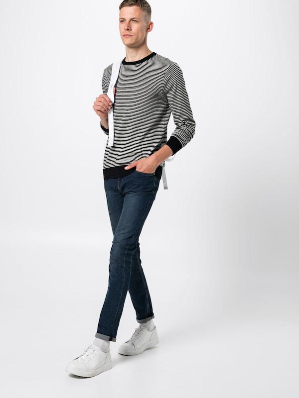 SCOTCH & SODA Pullover 'Ams Blauw crew neck neck neck knit' in dunkelblau   weiß  Freizeit, schlank, schlank 5e6fce