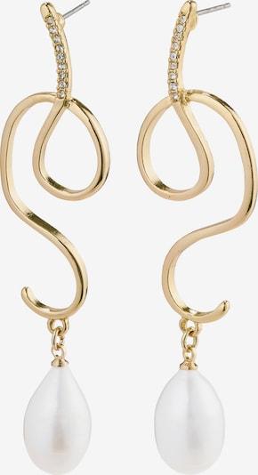 Pilgrim Ohrringe 'Love' in gold / perlweiß, Produktansicht