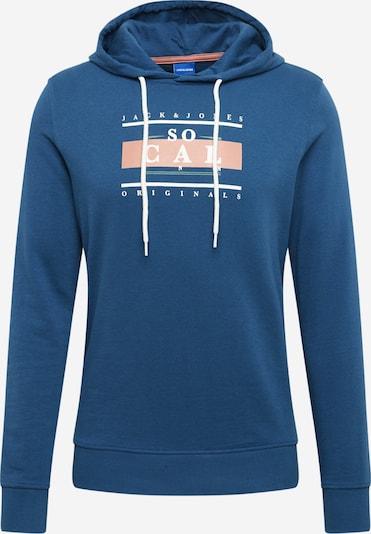 JACK & JONES Sweatshirt 'Joranthony' in Donkerblauw / Sinaasappel / Wit XGJaC55w