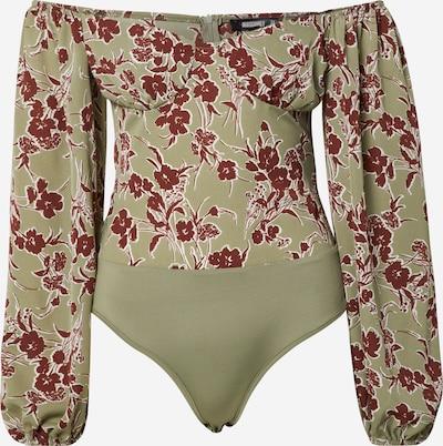 Missguided Shirtbody 'Floral Milkmaid' in khaki / weinrot, Produktansicht