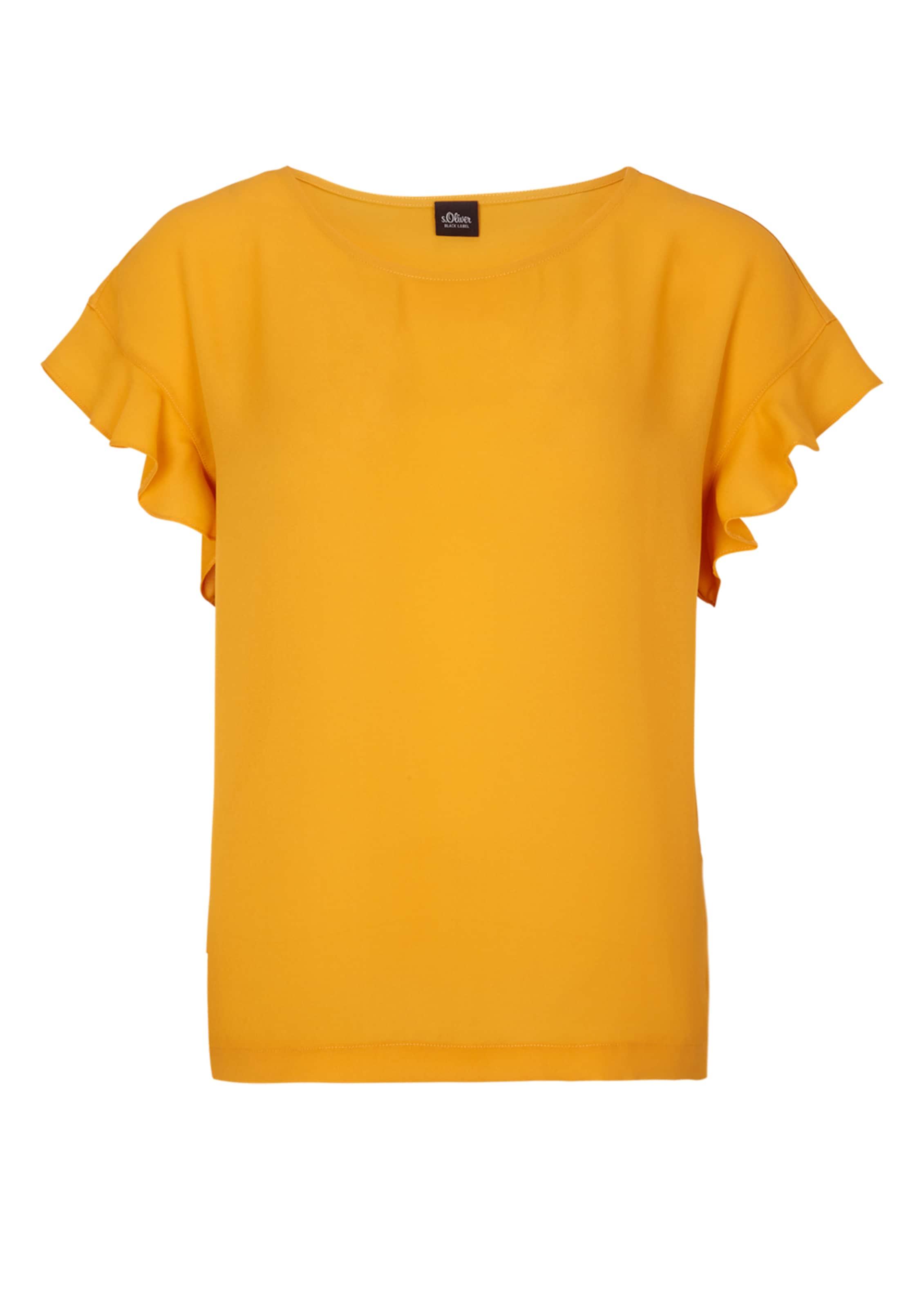 Mit Blusenshirt S Volants Label Gelb Black In oliver 76vYbfgy
