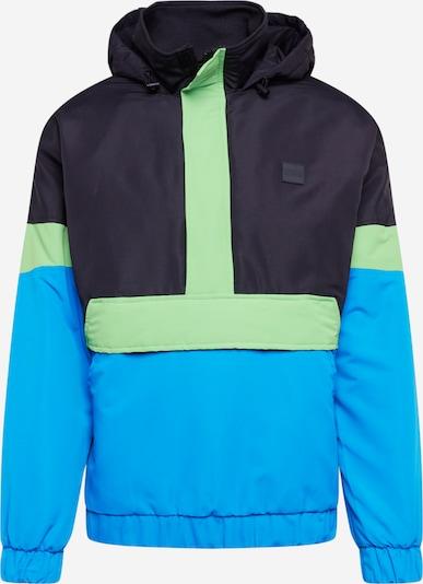 Urban Classics Tussenjas 'Neon Mix' in de kleur Blauw / Neongroen / Zwart, Productweergave