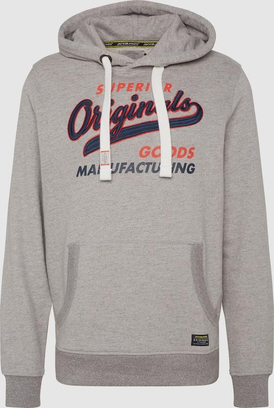 JACK & JONES Sweatshirt 'JORVARCITY' in graumeliert   dunkelrot  Große Preissenkung