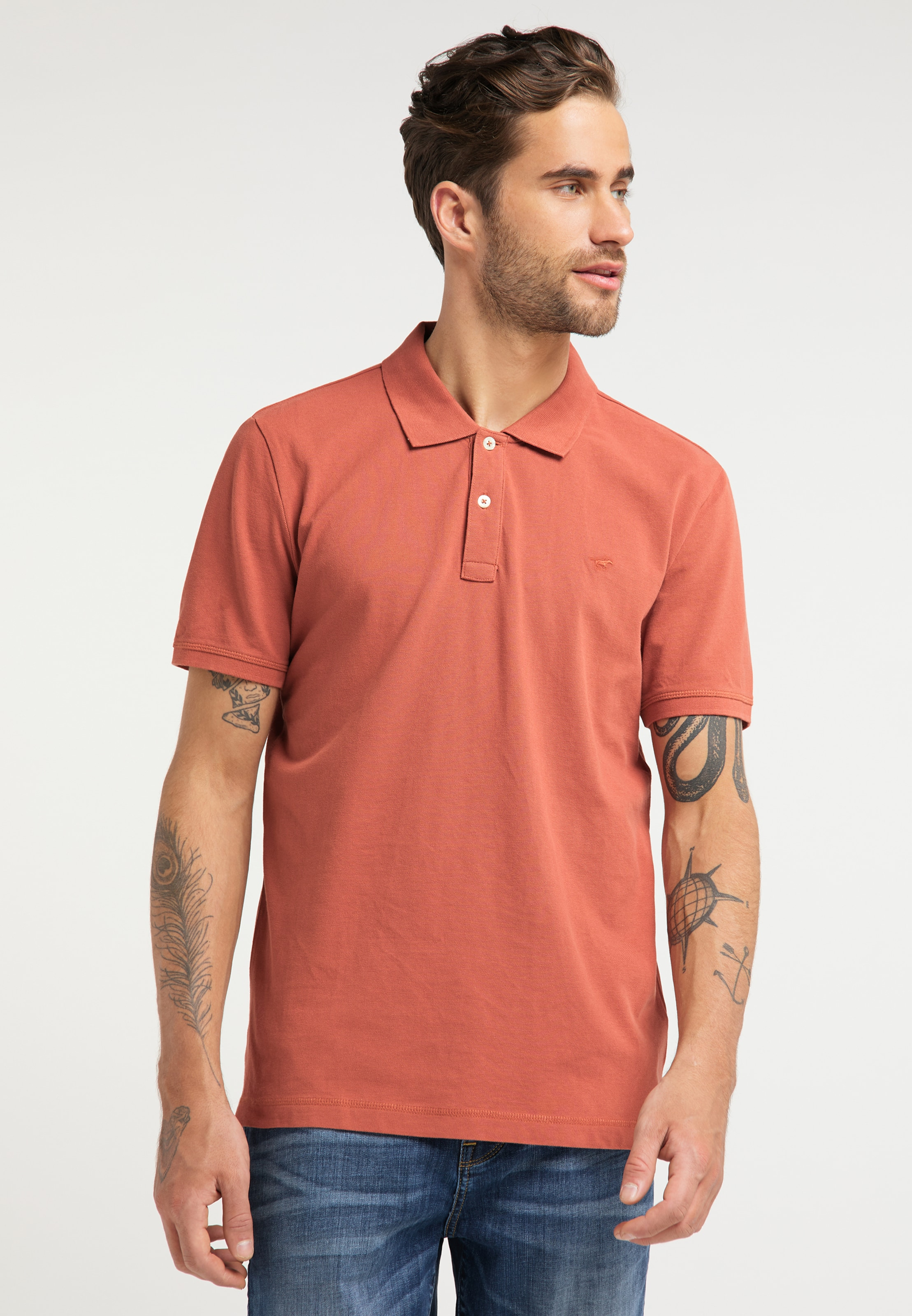 MUSTANG T-Shirt ' Polo Paplo' in hellrot Unifarben 1009515000016