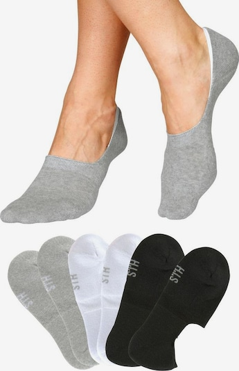 HIS JEANS Ankle socks in grey / black / white, Item view