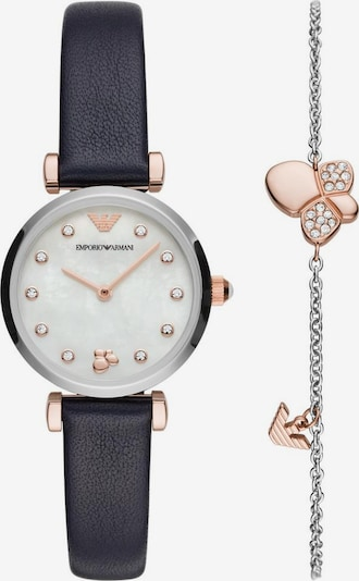 Emporio Armani Emporio Armani Quarzuhr »AR80036« (Set, 2 tlg., Uhr mit Schmuckarmband) in dunkelblau / rosé, Produktansicht
