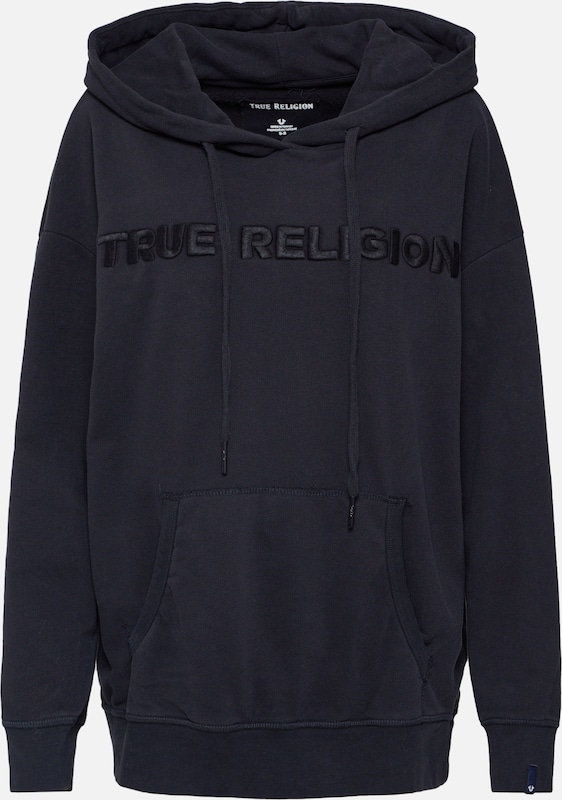True Religion Sweatshirt 'CREW SWEAT FLEECE' in schwarz, Produktansicht