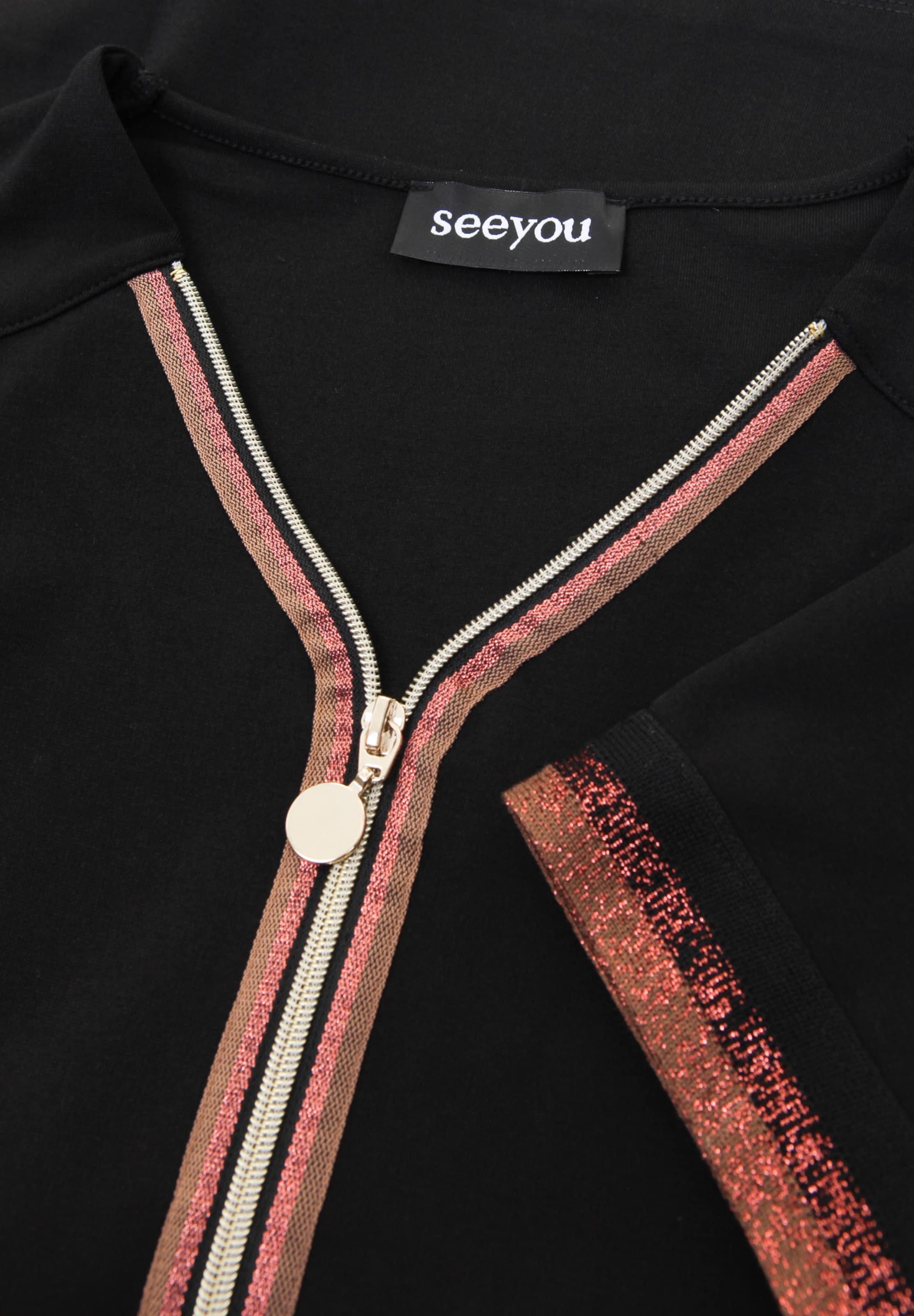 seeyou Shirt mit Metallic-Garn in schwarz