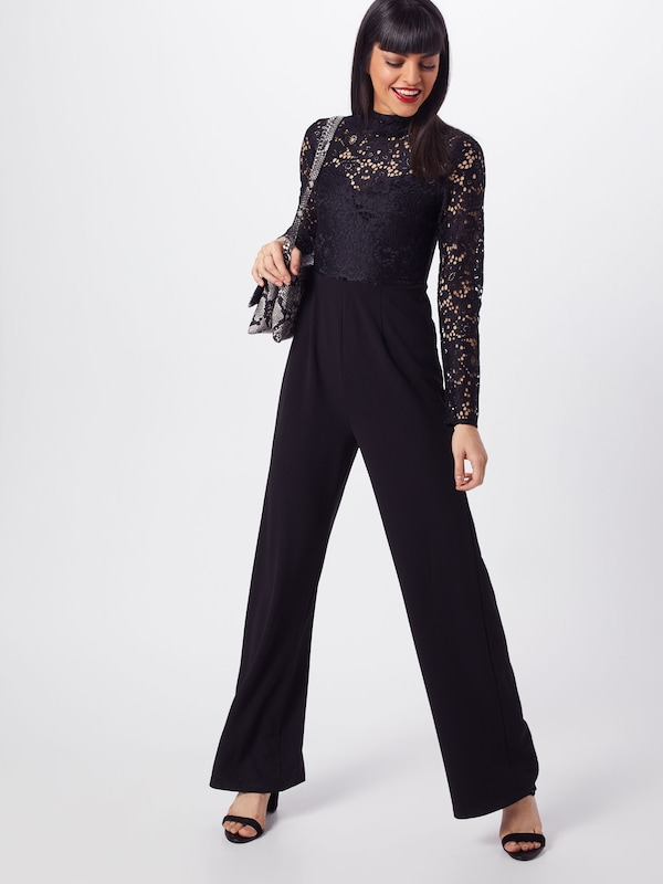 Noir Missguided Sleeved En Combinaison Long 'lace Top Jumpsuit' FKlJTc13