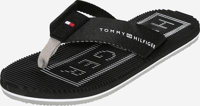 TOMMY HILFIGER Zehentrenner in hellgrau / rot / schwarz / weiß, Produktansicht