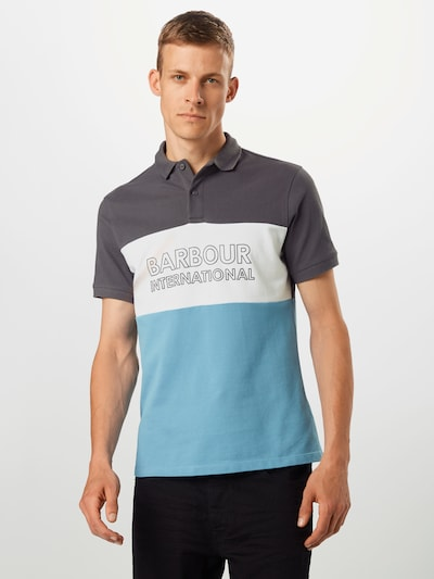 Barbour International Polo 'B.intl Bold' in blau / dunkelgrau / weiß: Frontalansicht