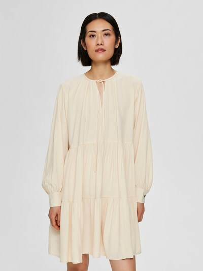 SELECTED FEMME Langärmeliges Blusenkleid in hellbeige: Frontalansicht
