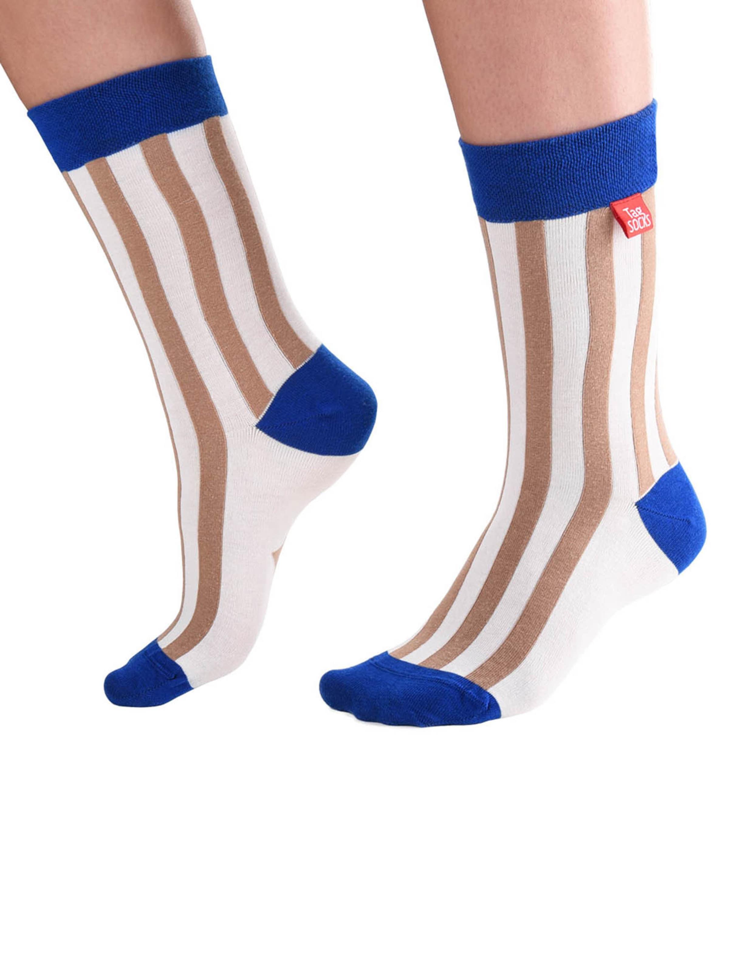 Tag SOCKS Socken 'Stars & Stripes' in blau / hellbraun / weiß Gestreift 13233