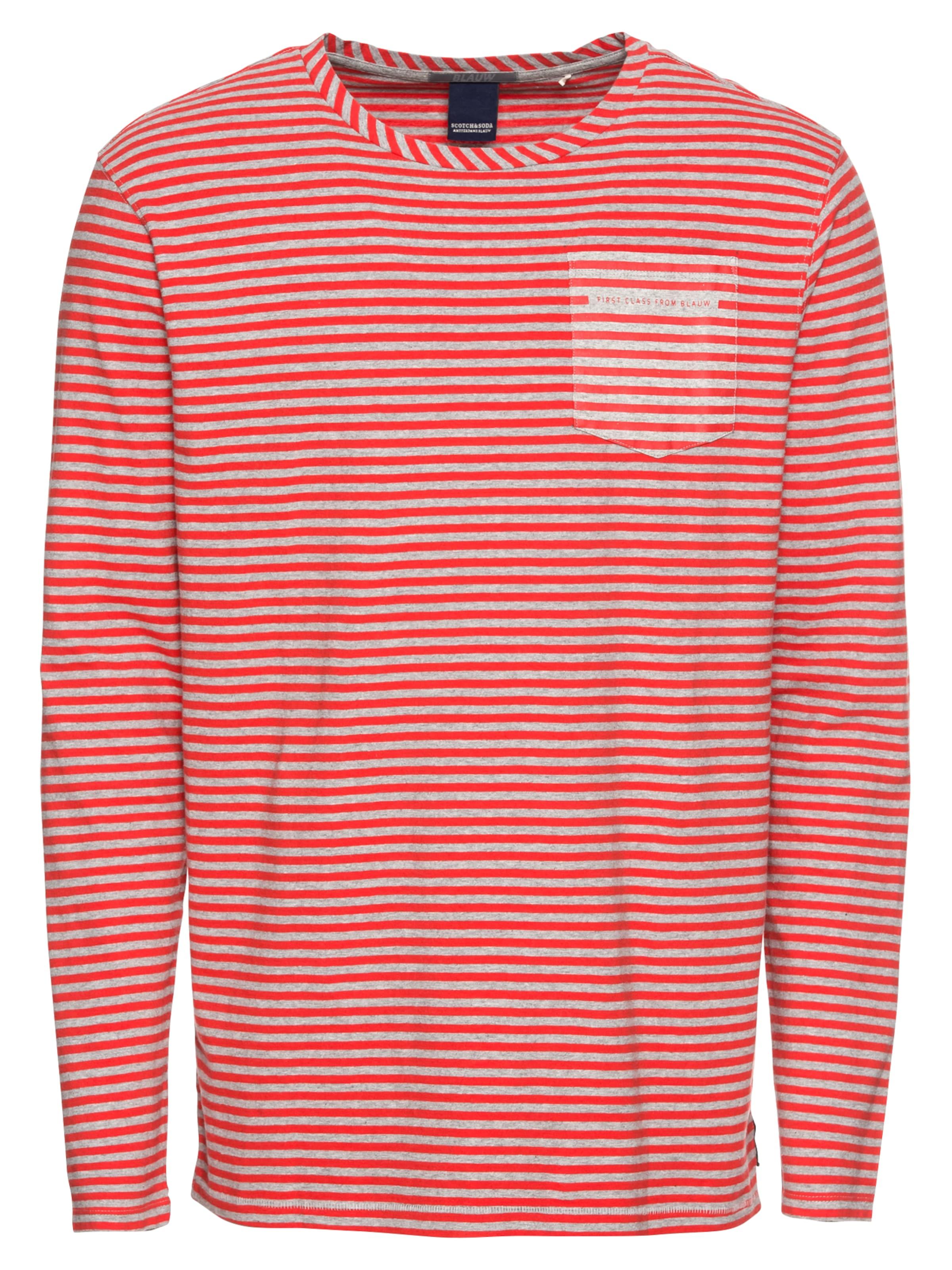 Stripe Long With En Rose Printed Artwork Blauw Pocket' Soda shirt 'ams Tee T Sleeve amp; Scotch Y8HwTT