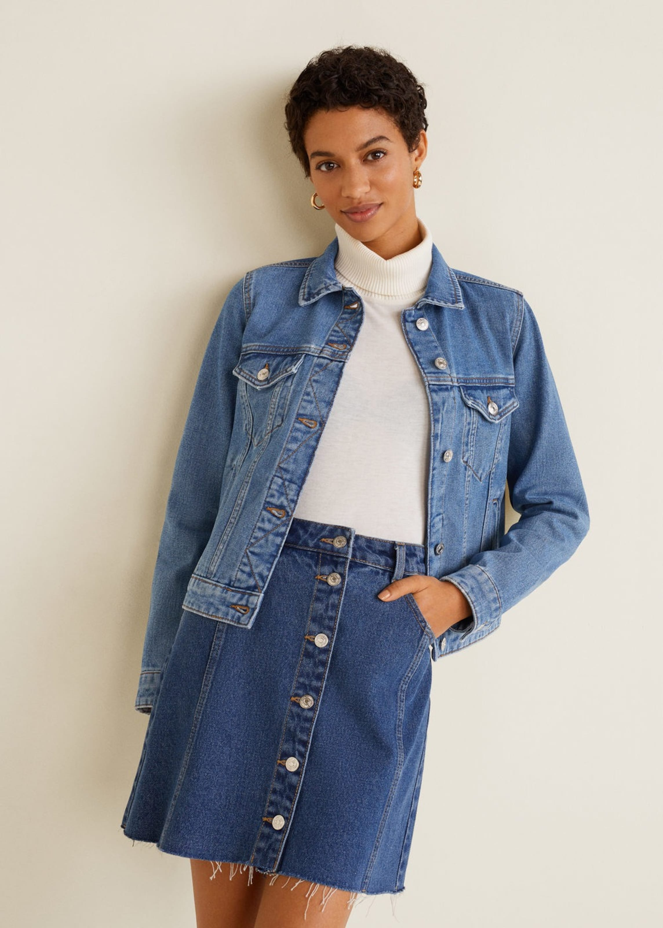 Blue Windjacke 'vicky' Mango Denim In wmv8Nn0