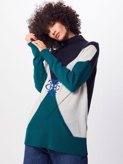 TOMMY HILFIGER Pullover 'Helmie' in creme / nachtblau / petrol, Modelansicht