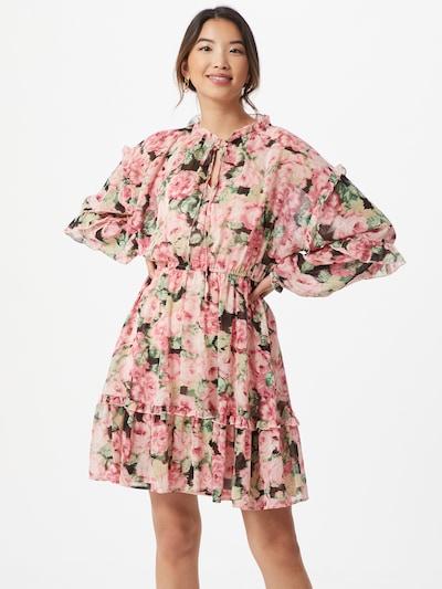 VERO MODA Kleid 'CLEO' in grasgrün / rosa / schwarz, Modelansicht