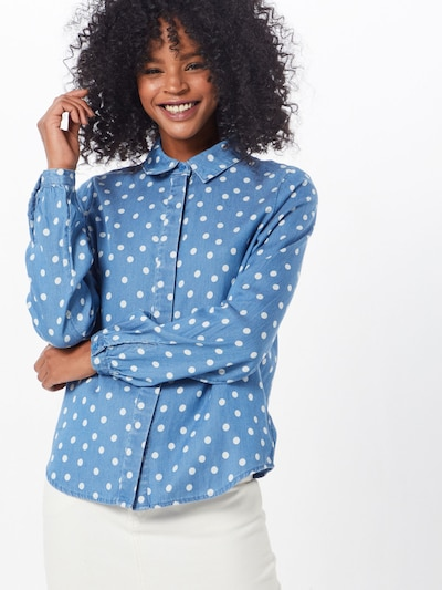 VILA Bluse 'VISTA DOT SHIRT' in blue denim, Modelansicht