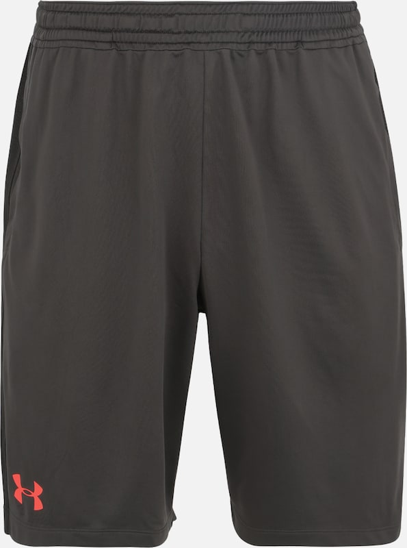 UNDER ARMOUR Sport-Shorts 'MK1 Short Wordmark' in khaki / rot, Produktansicht