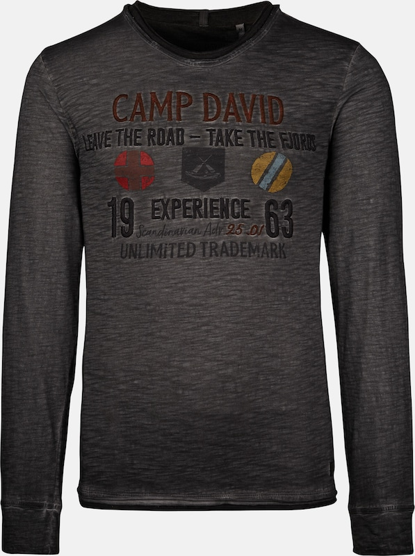 CAMP DAVID Longsleeve in dunkelgrau, Produktansicht