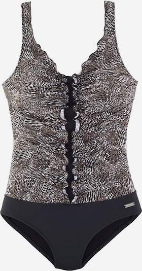 LASCANA Badeanzug in grau / schwarz, Produktansicht