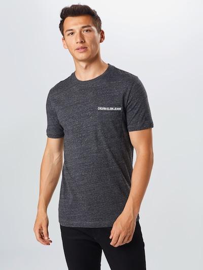 Calvin Klein Jeans Tričko - čierna melírovaná / biela: Pohľad spredu