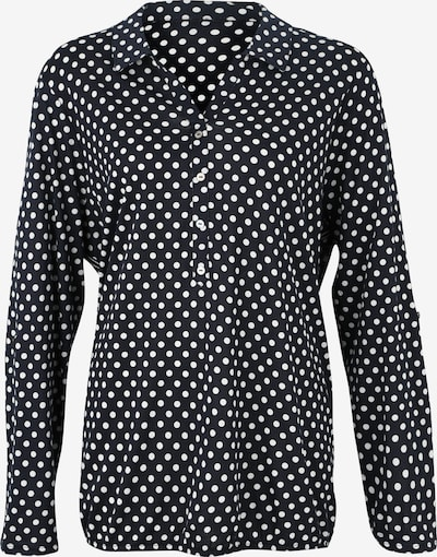 Tom Tailor Women + Blouse 'T-shirt with collar and print' in de kleur Zwart / Wit, Productweergave