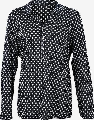 Tom Tailor Women + Bluza 'T-shirt with collar and print' | črna / bela barva, Prikaz izdelka
