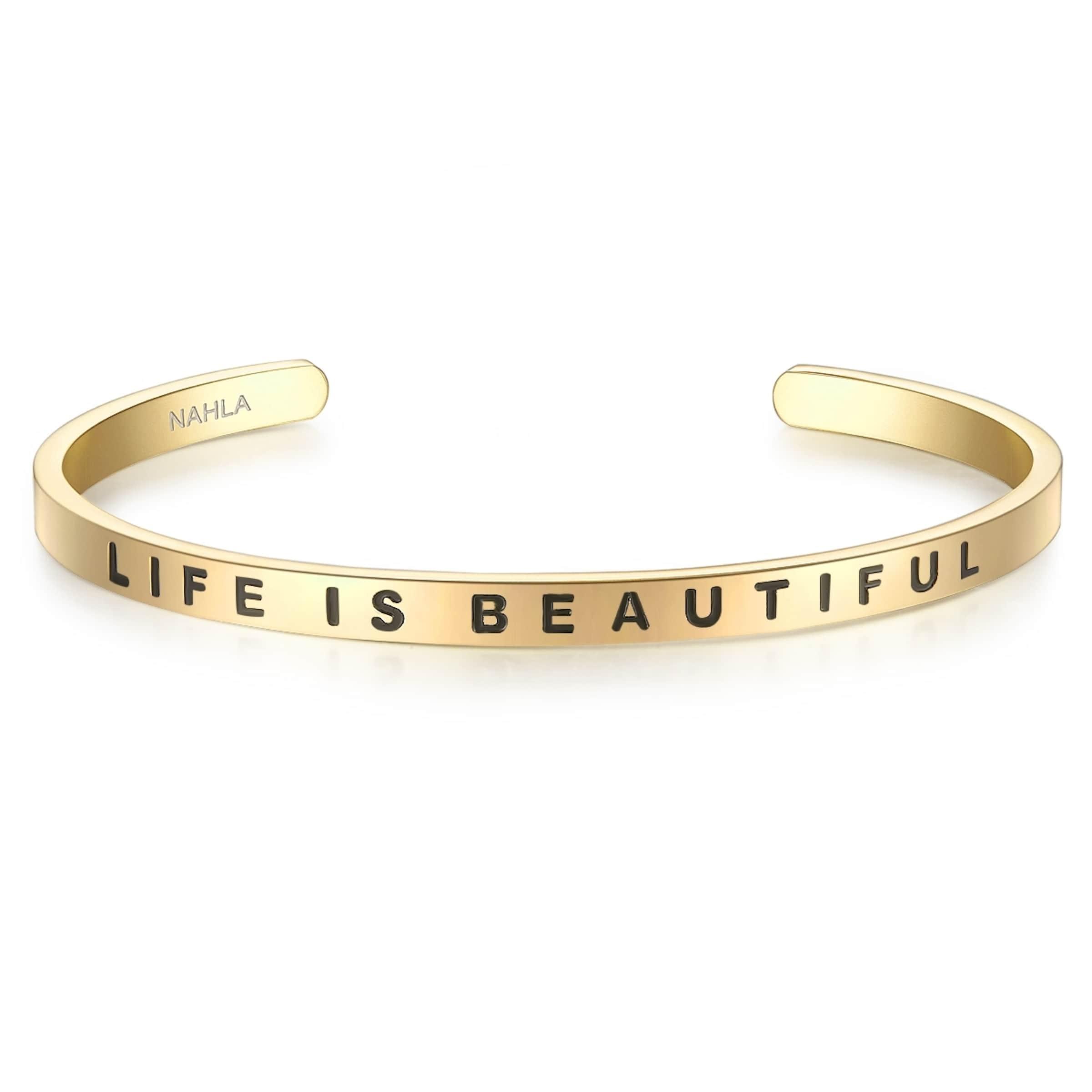 Nahla Jewels Armband mit LIFE IS BEAUTIFUL-Schriftzug Niedriger Preis Zu Verkaufen Die Besten Preise Günstiger Preis Exklusiv D5t6O4Yc