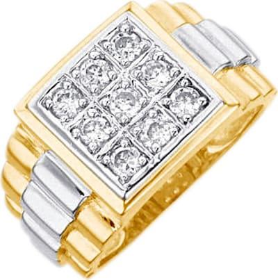 FIRETTI Ring / Siegelring mit Zirkonia in gold, Produktansicht
