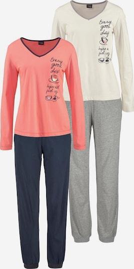 VIVANCE Pyjamas in navy / grau / lachs / weiß, Produktansicht