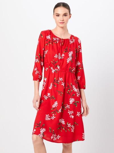 STREET ONE Kleid 'w flared hem L 1' in mischfarben / rot, Modelansicht