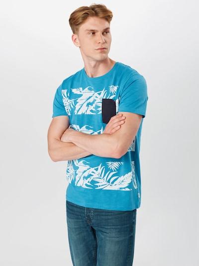 Tricou ESPRIT pe albastru / negru / alb: Privire frontală