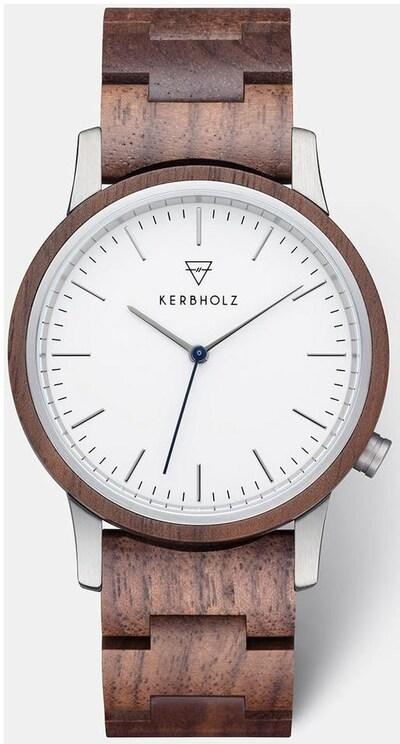 Kerbholz Uhr in braun / silber / weiß, Produktansicht