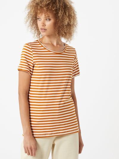 Tricou 'VISUS' VILA pe portocaliu / alb: Privire frontală