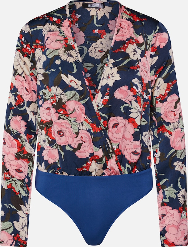 Missguided Shirt 'Floral Plunge' in de kleur Navy, Productweergave