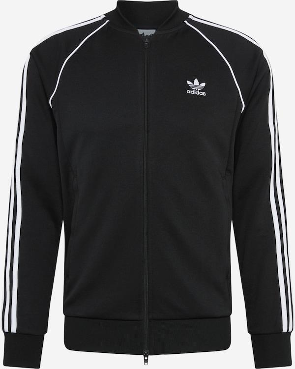 Adidas jacke in weiß mit blauen streifen in gr. 42