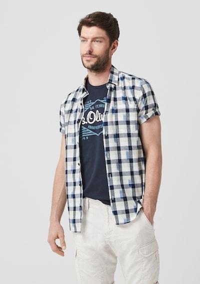 s.Oliver Hemd in beige / blau / graumeliert / weiß: Frontalansicht