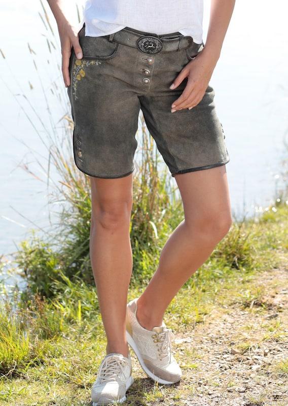 COUNTRY LINE LINE LINE Trachtenlederhose kurz Damen im Used Look in braun   senf  Freizeit, schlank, schlank 881b20