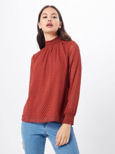 ONLY Bluse 'ONLNEW KAYLA L/S TOP WVN' i vinrød, Modelvisning