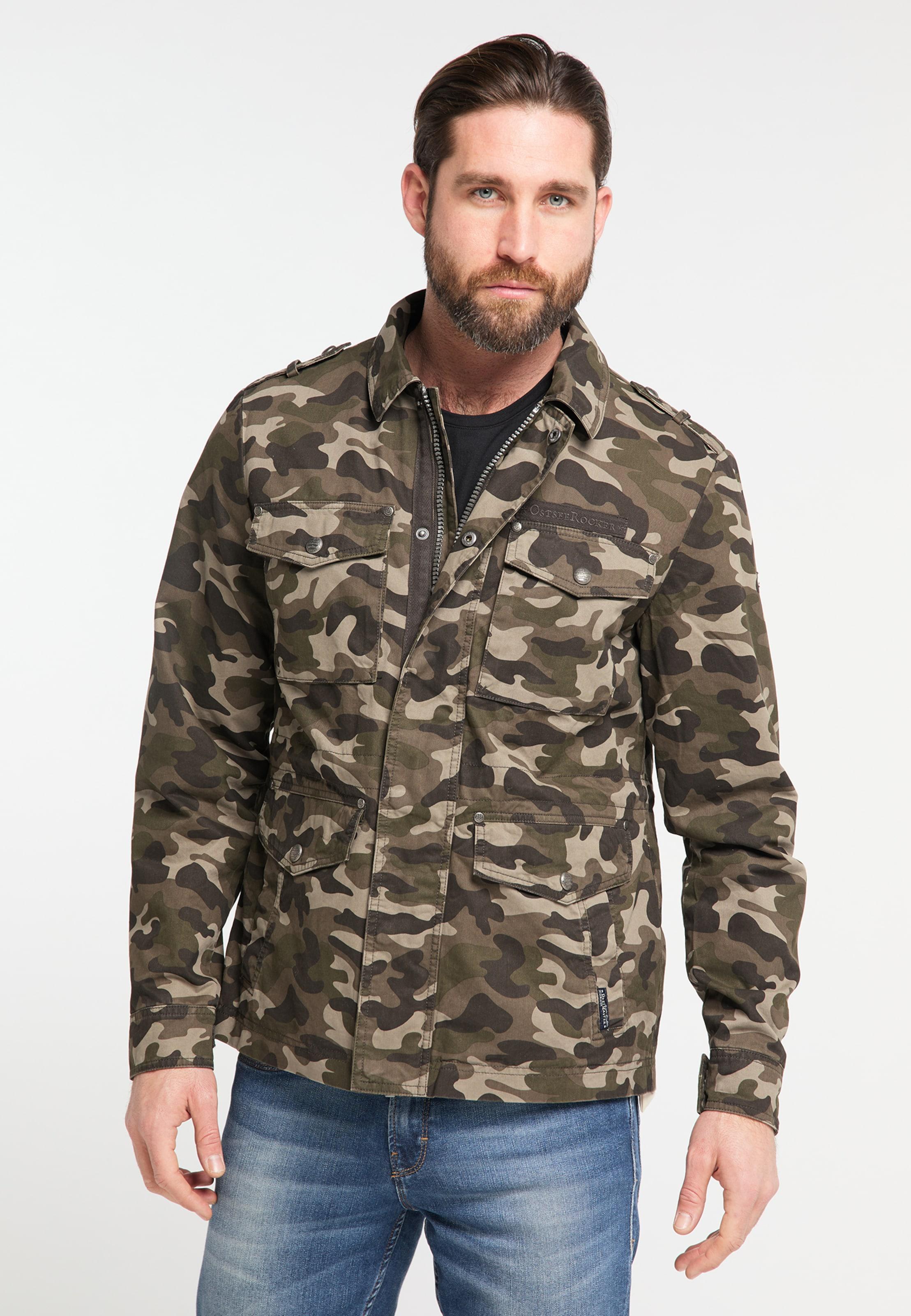 DREIMASTER Jacke in mokka / khaki Baumwolle 4251686656289