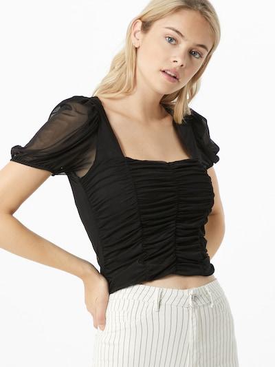 NEW LOOK Koszulka 'RUCHED' w kolorze czarnym: Widok z przodu