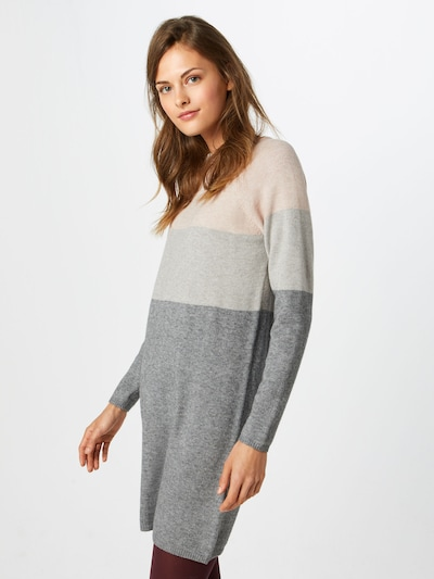 ONLY Úpletové šaty 'DRESS KNT NOOS' - světle béžová / světle šedá / tmavě šedá, Model/ka